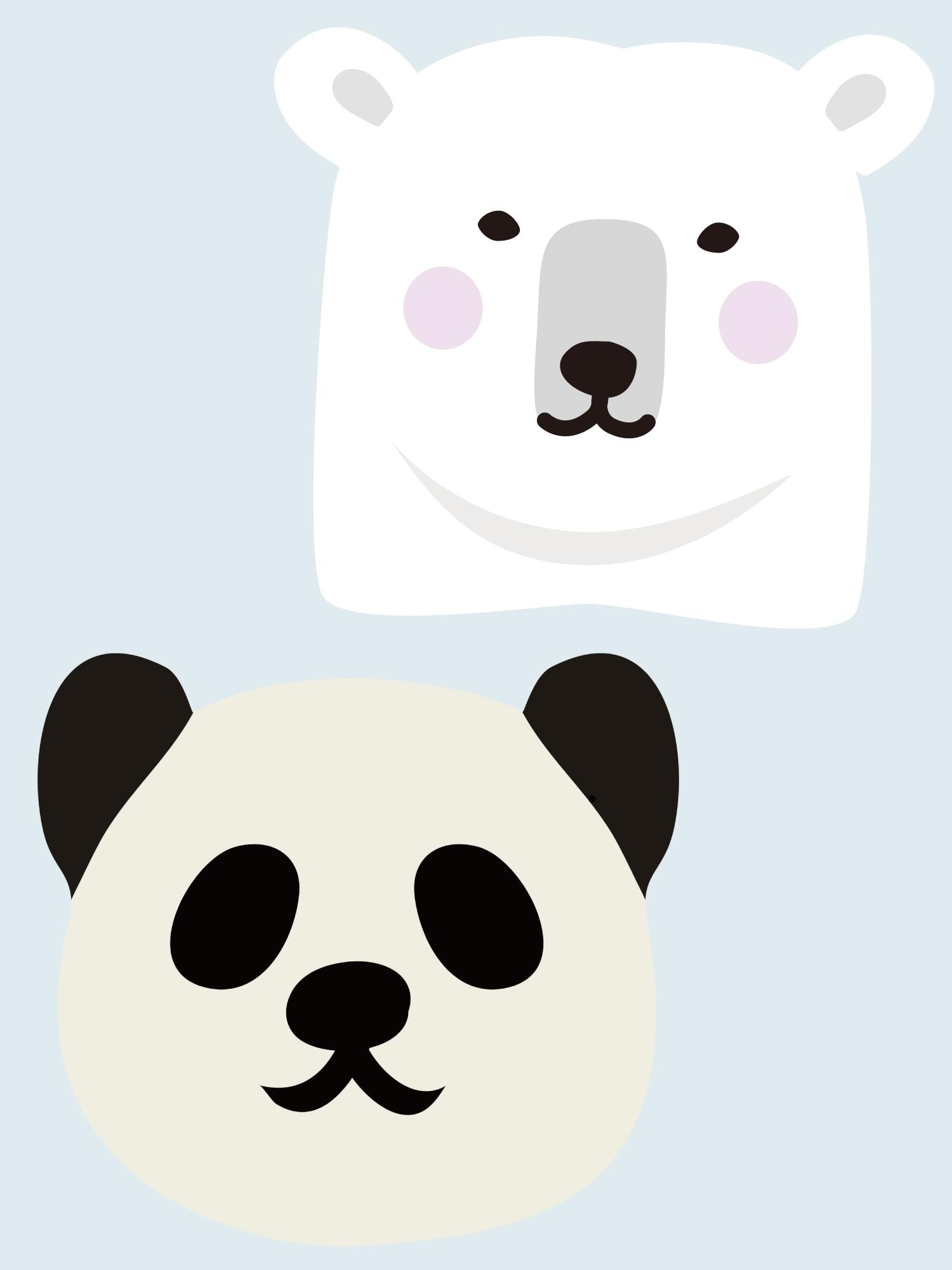 シロクマとパンダのイラスト